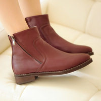 2013 fashion trend of the classic all-match boots double zipper low-heeled boots round toe vintage street martin boots