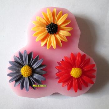 three sunflower resin flower fondant cake mold chocolate factory direct quality assurance