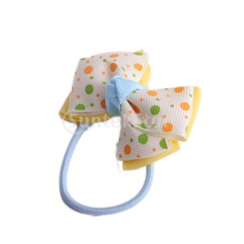 Free Shipping Kids Children Girl Bow Hair Tie on Elastic Band - Yellow And White