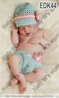 Cute Flower Beanie Hat and Diaper Cover Set Hand Knitted Newborn Baby hat photo Props baby caps and shorts