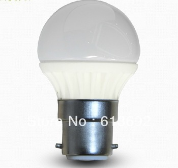 DHL free shipping Ceramic 320lm B22 3x1w 3W dimmable light led light bulbs led bulb led bulb light LED globe light