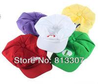 Super Mario Bros Anime Cosplay Hat red white Mario green Luigi yellow Wario Purple Wario hats 10pcs/lot