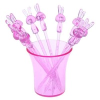 Free shipping    Cute rabbit lucid fruit fork     10pcs/set      shippment clour ramdon