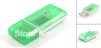 Clear Green Plastic Shell USB 2.0 T-Flash Micro SD Memory Card Reader