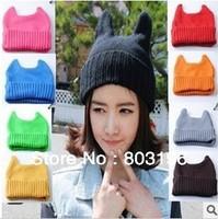 5Pcs/Lot Autumn Winter Devil Knitted Woolen Fluorescence Hats Lovely Orecchiette Women's Hats Free Shipping
