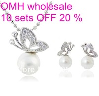 OMH wholesale 18 kt Shining crystal & pearl butterfly shape fashion necklace + Earrings Women girls gift Jewelry sets TZ24