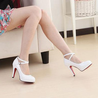 2012 japanned leather white high-heeled shoes platform thin heels princess shoes single shoes red wedding shoes female