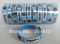 Set of 12 Argentina Soccer Bangle Wristband Wristlet Bracelet Torque 65mm Diameter