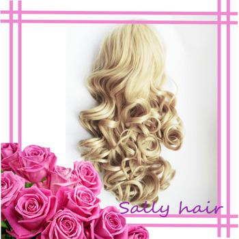 Sally synthetic hair half wig, 3/4 wig, Romance wave
