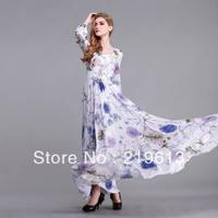2013 spring autumn fashoin flower print women maxi full dress plus size long sleeve floor / ankle length vintage dresses S-3XL