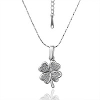 Free Shipping 18k white gold jewelry plated lower leaf necklace rhinestone crystals pendant necklace fine quality