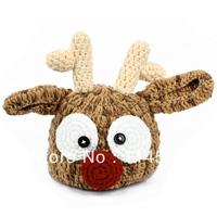 Handmade Baby Crochet Hat Infant Toddler Deer Pattern Knied Beanie Hat Photo Prop Baby Cap 15305