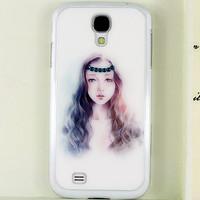 for Samsung Galaxy S4 i9500 Long Hair Woman handmade 3D Rhinestone Crystal Bling diamond case Free Shipping