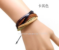 Diy punk genuine leather bracelet fashion female knitted hand-rope male lovers set hand accessories a pair of 28
