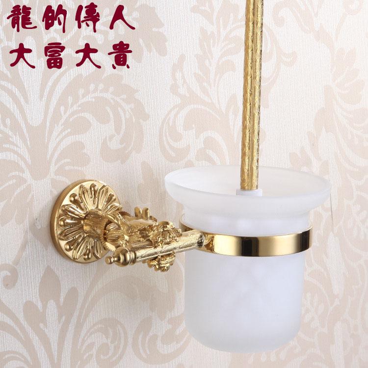 Золотой Дракон резной медной ванной Туалет кисть моды Туалет Кубка держатель Титан Золото Оборудование Аксессуары