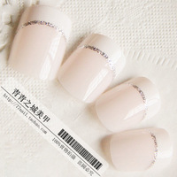 Free Shipping 24pieces/lot Sweets OL beautiful shallow pink short design french style false nail art patch nail brief