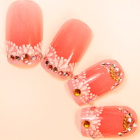 Free Shipping 24pieces/set Hot-selling bride lace watermelon red 3D false nail art patch finished product