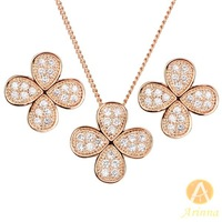 [Arinna Jewelry]18K Rose Gold Plated Jewelry sets Austrian Crystal Flower Jewelry Sets For women Necklace+ Earrings  G0731#2