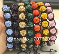Clay Shamballa jewelry  Bracelets Micro Pave CZ Disco 10mm Ball Bead women Shamballa Bracelet SB7142A