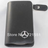 Black good leather Benz car key bag!!  noble best quality car remote control holder, hot sale delicate car key case