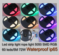 Strip light led rgb12v ip65 waterproof free shipping via China Post led 5050 rgb 12v 72w 5m / roll with IR remote controller