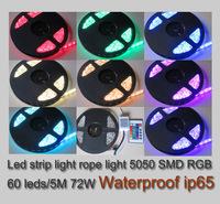 Strip light led rgb12v ip65 waterproof free shipping via China Post led 5050 rgb 12v 72w 5m / roll with IR remote controller