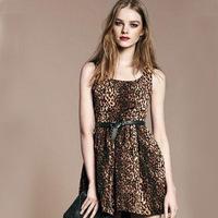 2014 fashion sexy leopard sleeveless dresses