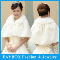 Ivory Warm women Winter fashion Faux Fur Bridal wedding Bolero shoulder wrap Cape jackets shawl stole