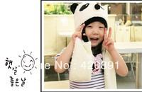 Free Shipping!Super Cute And Warm Children Wool Panda Cap Match Scarf ,Cartoon Hat with Scarf(1Set =1 Cap+ 1 Scarf)