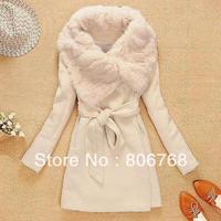 EAST KNITTING OC-003 Free Shipping Women's Wool Long Coat ,Fashion Warm Winter Leisure Wear,Cloak Blends Fur Jacket,S/M/L