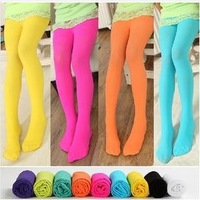 (100-150cm) 10 pcs/lot new arrival thin solid candy color girls tights with foot ,Kids pantyhose with feet  free shipping