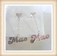 Free shipping 925 silver name plate earrings-custom by any name