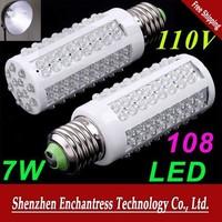 FreeShipping 6pcs / lot Ultra Bright 6000-6500k E27 7W 110V 108 LED Light Bulb Corn light LED Lamp