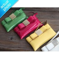 SALE H1855 KK luxury Primrose Hill Patent Aricia Genuine real leather Bow Wallet Purse WRISTLET Phone Case Free shipping A13 new