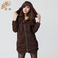 Autumn and winter plus size women's trench loose outerwear plus size with a hood overcoat all-match zipper women's xxxl