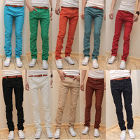 K100 p40 2012 male slim elastic jeans pants multicolor