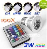 FREE  100pcsX E27 3W 4W 5W 16 Colors Changing RGB LED Lamp GU10/MR16/E14 RGB LED Bulb Lamp Spotlight with Remote Control