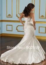 vestido de boda del envío libre de gama alta cariño tafetán trompeta(China (Mainland))