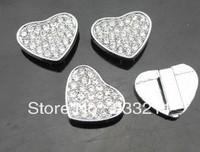 Full rhinestone Heart Slide Charms 50pcs 8mm Wristband charms
