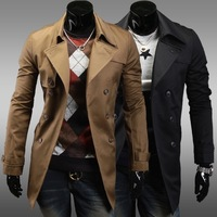 Free shipping burst coat lapel double-breasted design Belt decorated Slim short paragraph Men windbreaker handsome leisure