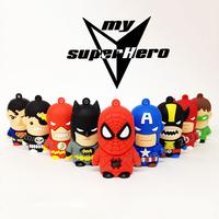 Wholesale cartoon fancy SUPER HERO MAN USB Flash Drives thumb pen drive memory stick u disk 2GB 4GB 8GB bulk cheap