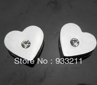 Wholesale 50pcs One Rhinestone Heart Internai Dia:8mm Slide Charms can through 8mm Belt Pet Collar