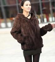 2013 women luxurious  winter hooded  jacket Genuine mink hair fur coat hand-knit keep warm  DHL/EMS free shipping