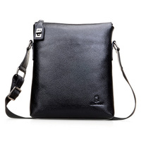 2013 NEW Brand Fashion Casual Genuine Leather Men Shoulder Bags Black First Layer Leather Business Messenger Bag Free Shipping