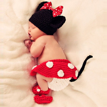 2013 New ArrivalHotSale 3pcs Minnie Girl Infant Baby Hat+Skirt+Shoes Crochet Knit Photo Prop Costume Free shipping &wholesale