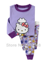 hot selling girls  long sleeve purple hello kitty pajamas #G-7340 / Children clothing set / baby sleepwear