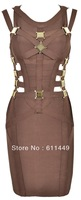 2013 new arrival Yasmin Brown & Bronze Metal Cut Out Bandage Dress - As Seen On Lucy Meck