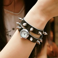 Min order $20 Fashion personality punk long design spirally-wound spike hip-hop  cowhide watch bracelet bangle watch