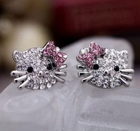 Super cute hello kitty earring studs all crystal KT earrings for little girls free shipping