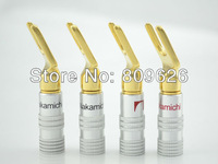 Free Shipping High quality 10Pair Nakamichi Speaker Banana Spade Plug Screw Type Gold Plated